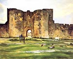 Porte e la Reine at Aigues Mortes by Frederic Bazille