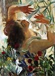 Woman with Lillies in a Greenhouse Lovis Corinth