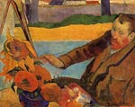 Portrait of Vincent van Gogh Painting Sunflowers Paul Gauguin