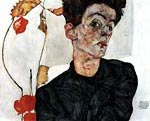 Selfportrait with lampion fruits Egon Schiele