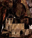 Wall and house at a hilly terrain with fence Egon Schiele