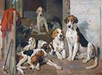 Foxhounds and Terrier in a Stable Interio John Emms