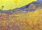 Wheat Fields with Reaper at Sunrise Vincent Van Gogh