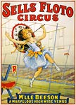 Sells Floto Circus, Beeson on the highwire poster