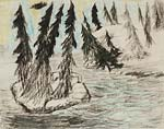 Spruces on a cliff surrounded by water