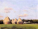 Harvest, Landscape with Five Haystacks Gustave Caillebotte