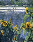 Sunflowers on the Banks of the Seine Gustave Caillebotte