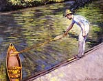 Boater Pulling on His Perissoire Gustave Caillebotte