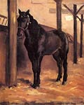 Yerres, Dark Bay Horse in the Stable Gustave Caillebotte