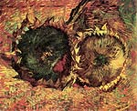 Two Cut Sunflowers Vincent Van Gogh