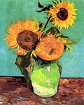 Three Sunflowers in a Vase 1888 Van Gogh