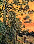 Pine Trees against a Red Sky with Setting Sun 1889 Van Gogh