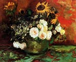 Bowl with Sunflowers, Roses and Other Flowers 1886 Vincent Van G