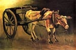 Cart with Red and White Ox 1884 Van Gogh