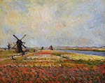 Fields of Flowers and Windmills near Leiden Monet