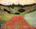 Poppy field of flowers in a valley at Giverny Monet