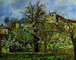 Fruit orchard with blooming trees Camille Pissarro