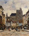Abbeville street and the church of saint vulfran 1884, Eugene Bo
