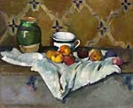 Still life with jar cup and apples