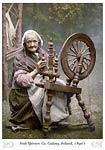 Irish Spinner and Spinning Wheel. Co. Galway, Ireland