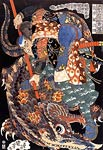Warrior Killing a Giant Nue Utagawa Kuniyoshi