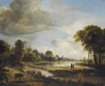 A River Landscape with Figures and Cattle