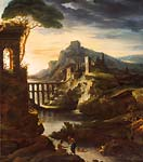 Evening landscape with an aqueduct