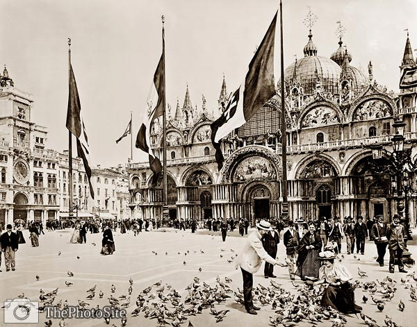 Feeding pigeons at Piazza San Marco, Venice - Click Image to Close