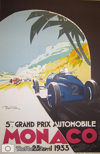Monoco Grand Prix 1933 Vintage Poster - Click Image to Close