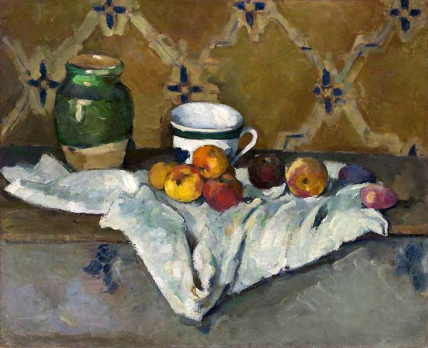 Still life with jar cup and apples - Click Image to Close