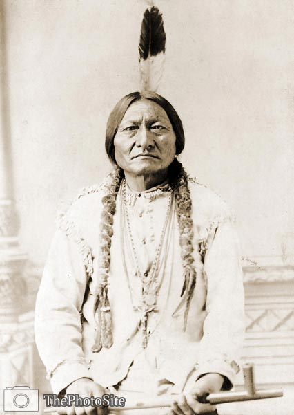 Indian Sitting Bull, holding peace pipe 1885 - Click Image to Close