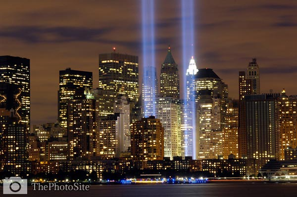 9/11 Tribute Lights, New York - Click Image to Close