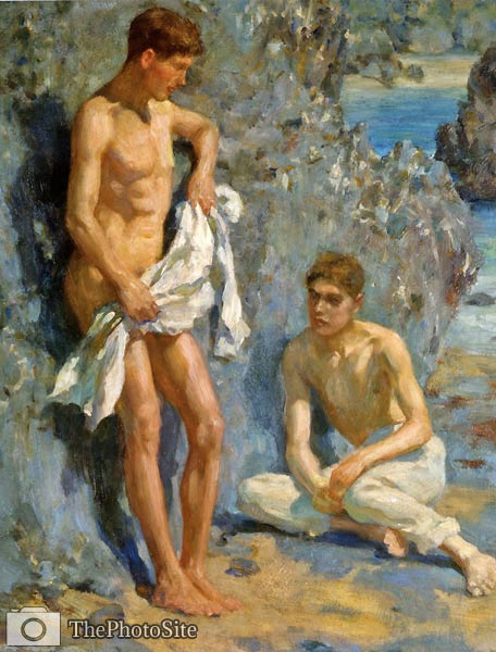 After The Bath Henry Scott Tuke - Click Image to Close
