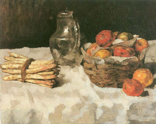 Apples on white with baskets, pewter and bunch of asparagus - Click Image to Close