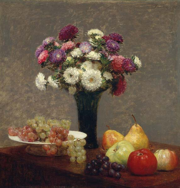 Asters and fruit on a table - Click Image to Close