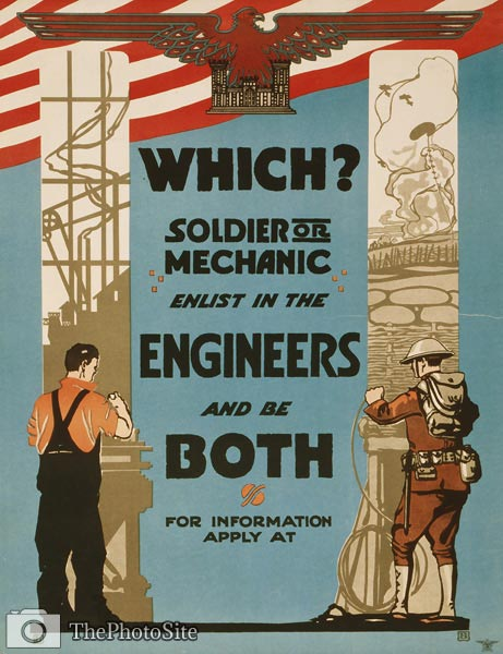 Soldier or mechanic - enlist in the engineers and be both WWI Po - Click Image to Close