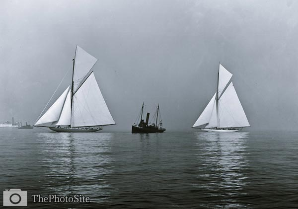 Shamrock I Yacht and Columbia, boats in fog - Click Image to Close