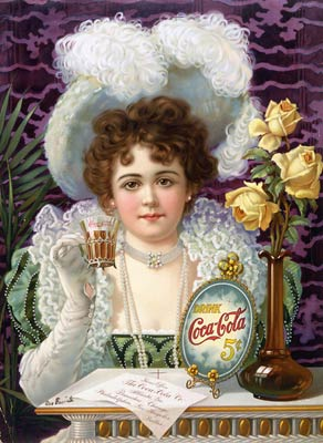Drink Coca-Cola 5 cents 1890s advertising poster drinking Coke.