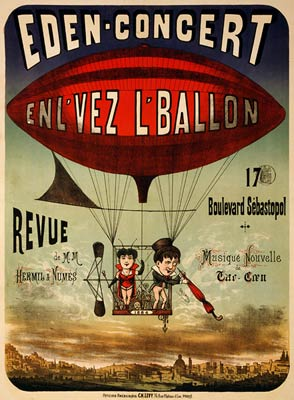 French circus poster, airship, 1884 Poster