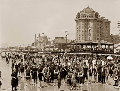 Atlantic City, New Jersey crowd of bathers at the beach 1900's