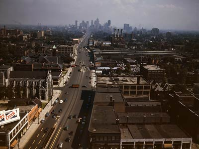 Detroit Michigan color photo from the 1940's
