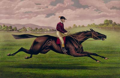 Jockey on running horse 1879