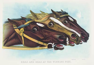 Photo finish, race horses