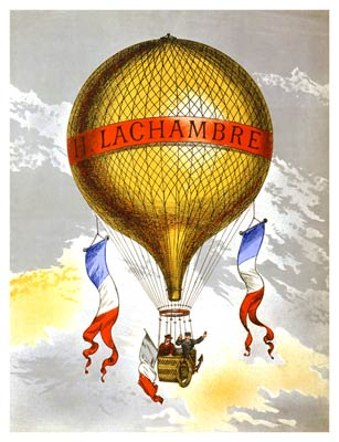 "Balloon labeled ""H. Lachambre,"" with two men riding in the baske"