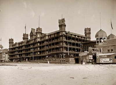 Old Orchard Beach Velvet Hotel from beach, Maine
