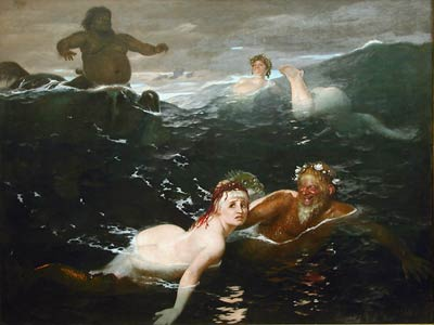 Playing waves by Arnold Bocklin