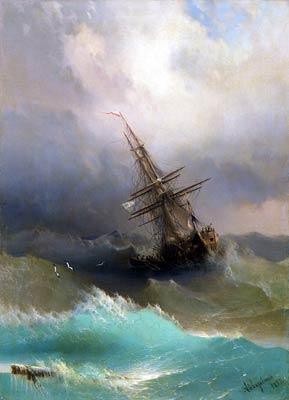 A Ship in the Midst of a stormy sea Ivan Aivazovsky