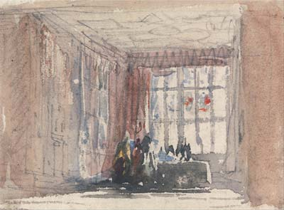 A Tudor Room with Figures, Possibly Hardwick Hall or Haddon Hall