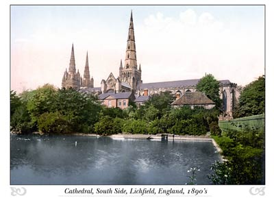 Lichfield Cathedral (south side), England
