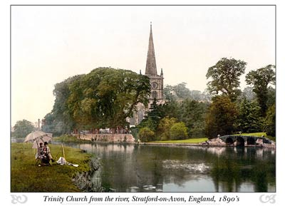 Trinity Church from the river, Stratford-on-Avon, England